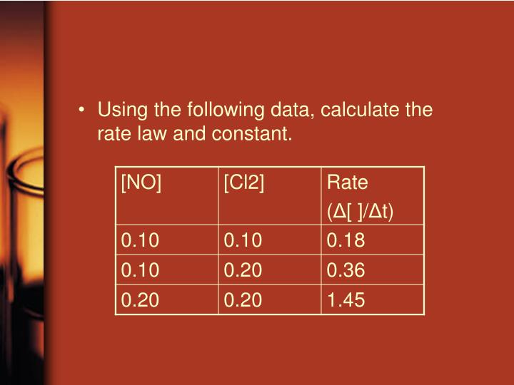 Using the following data, calculate the rate law and constant.