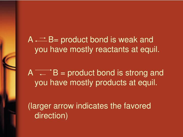 A		 B= product bond is weak and you have mostly reactants at equil.