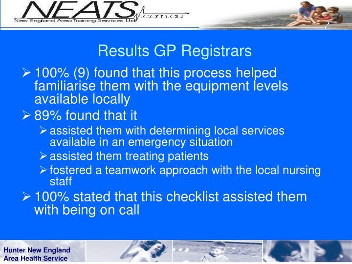 Results GP Registrars