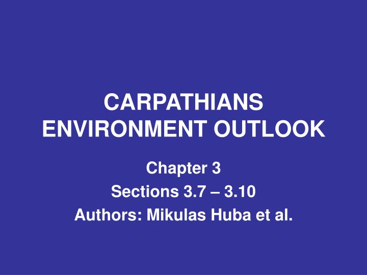 carpathians environment outlook n.