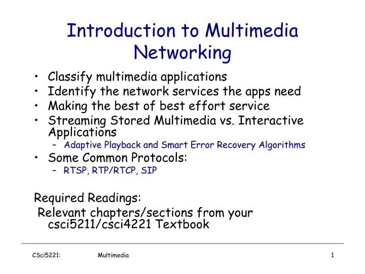PPT - Introduction to Multimedia Networking PowerPoint Presentation