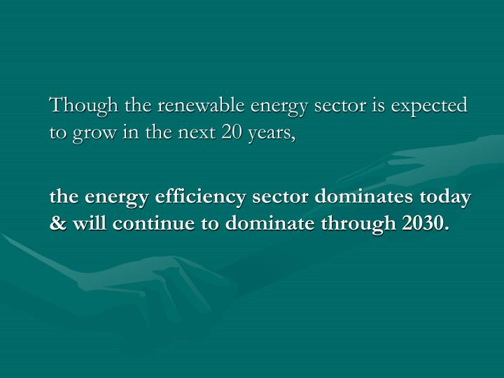 Though the renewable energy sector is expected to grow in the next 20 years,