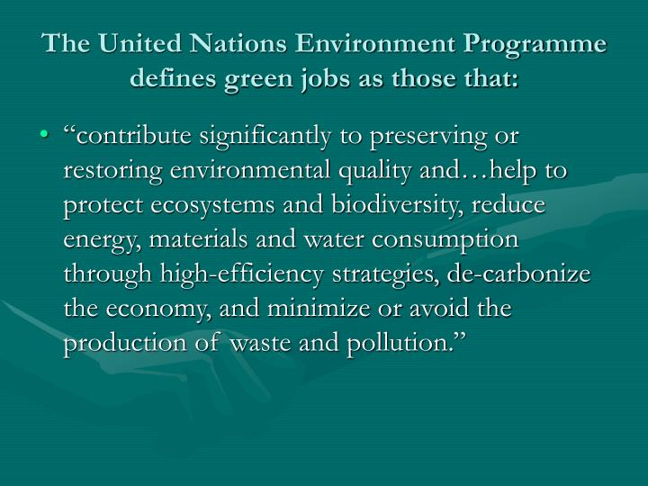 The United Nations Environment Programme defines green jobs as those that: