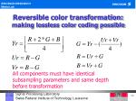 reversible color transformation making lossless color coding possible