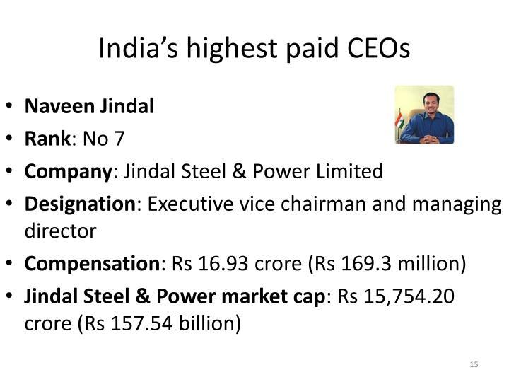 India's highest paid CEOs