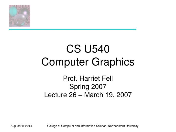 cs u540 computer graphics n.
