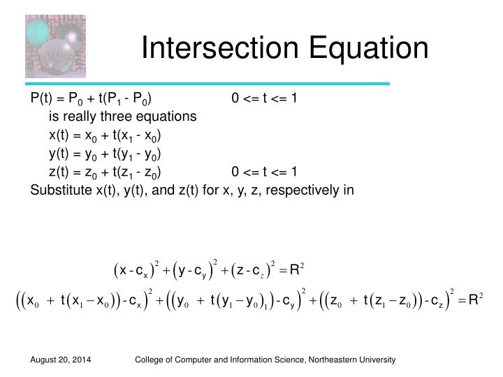 Intersection Equation
