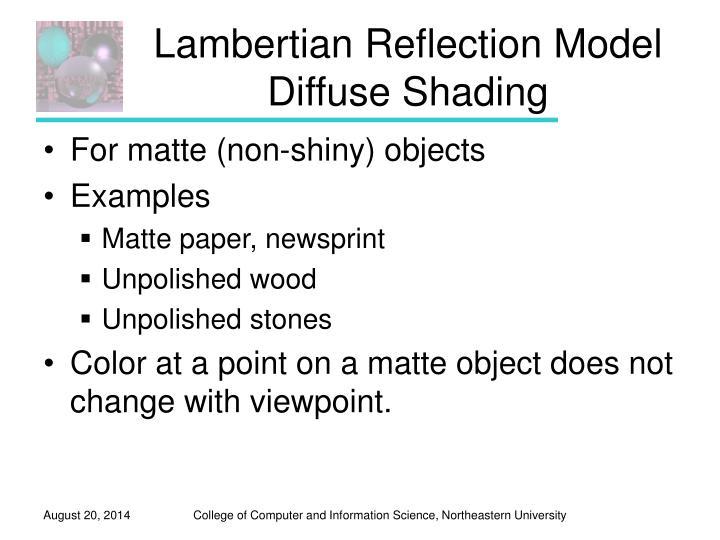 Lambertian Reflection Model
