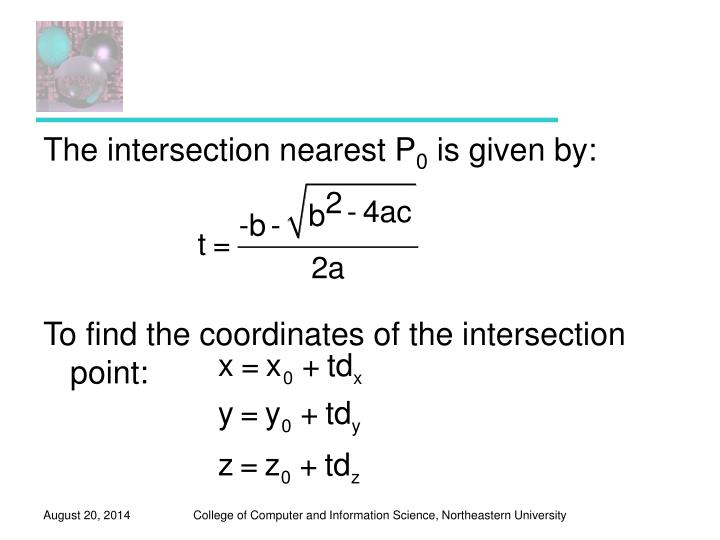 The intersection nearest P