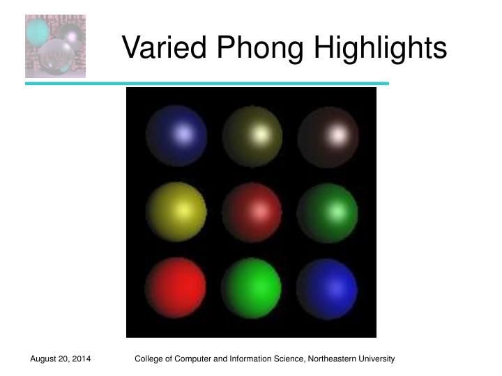 Varied Phong Highlights