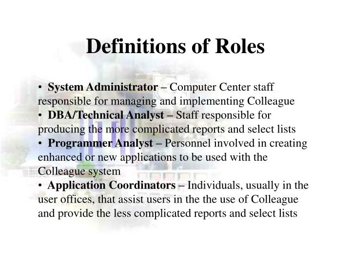 Definitions of Roles
