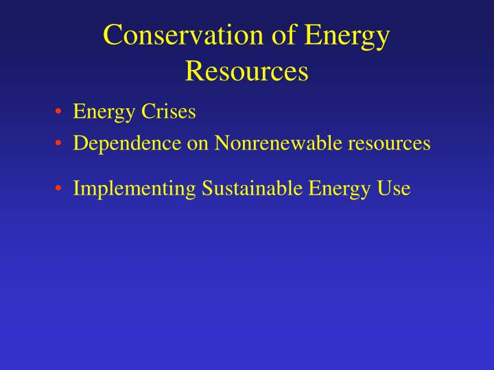 conservation of energy resources n.