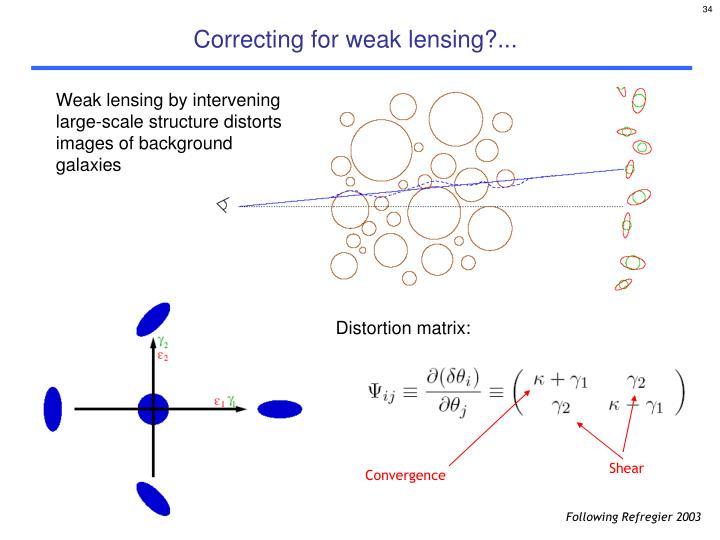 Correcting for weak lensing?...