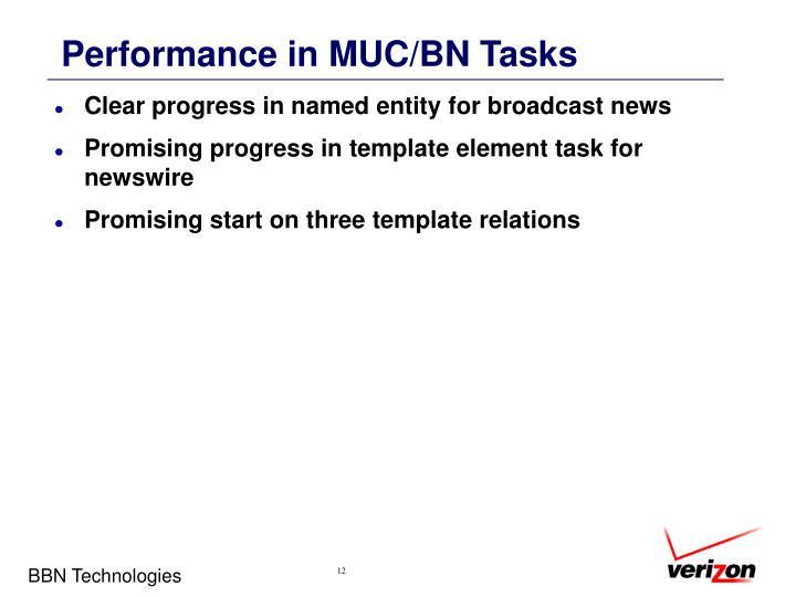 Performance in MUC/BN Tasks