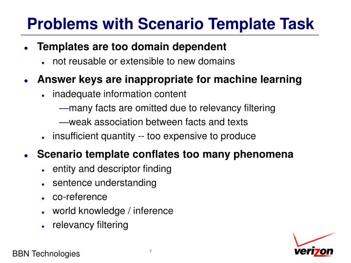 Problems with Scenario Template Task