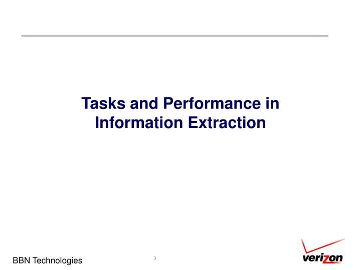 Tasks and performance in information extraction