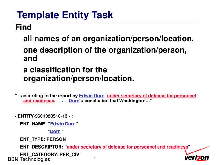 Template Entity Task