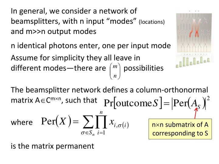 n identical photons enter, one per input mode