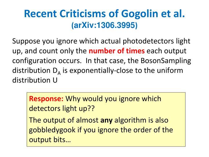 Recent Criticisms of Gogolin et al.