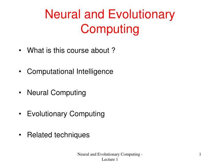 neural and evolutionary computing n.