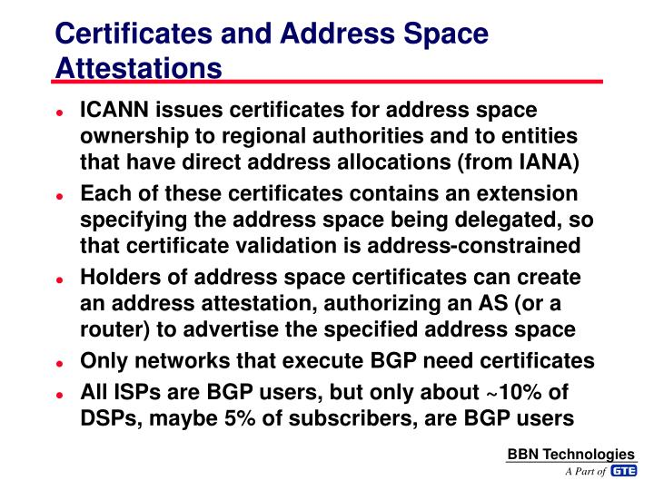 Certificates and Address Space Attestations