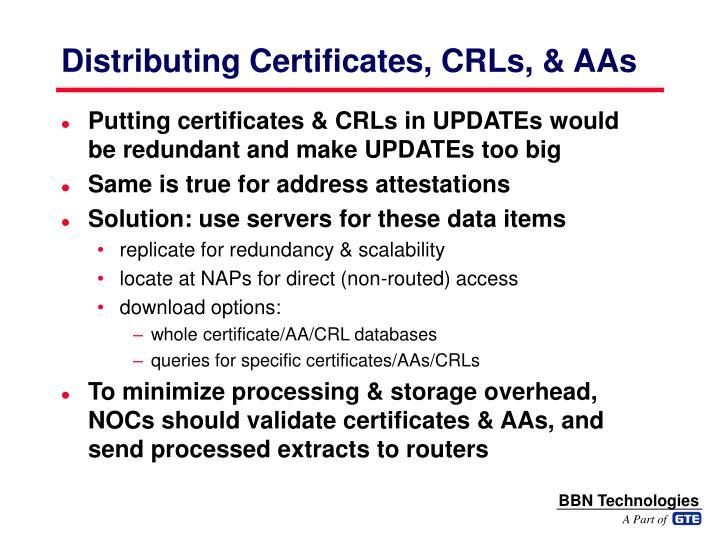 Distributing Certificates, CRLs, & AAs