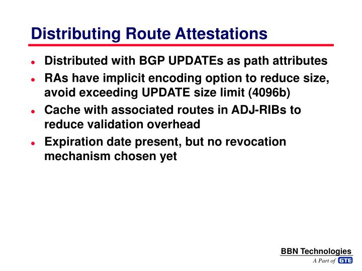 Distributing Route Attestations