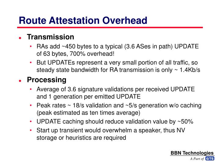Route Attestation Overhead
