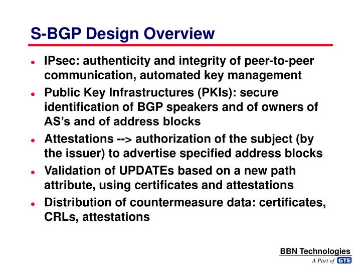 S-BGP Design Overview