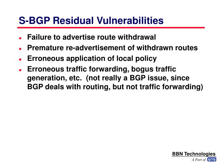 S-BGP Residual Vulnerabilities
