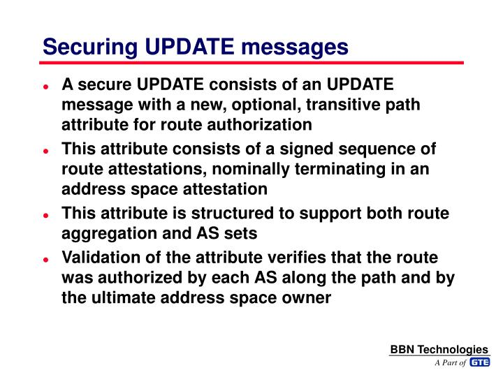 Securing UPDATE messages