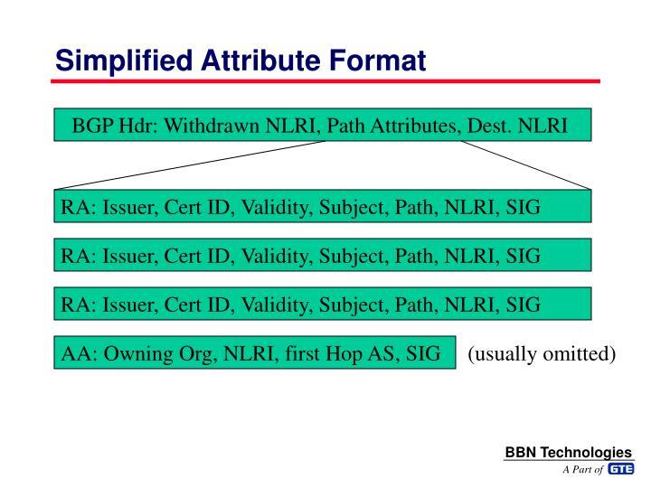 Simplified Attribute Format