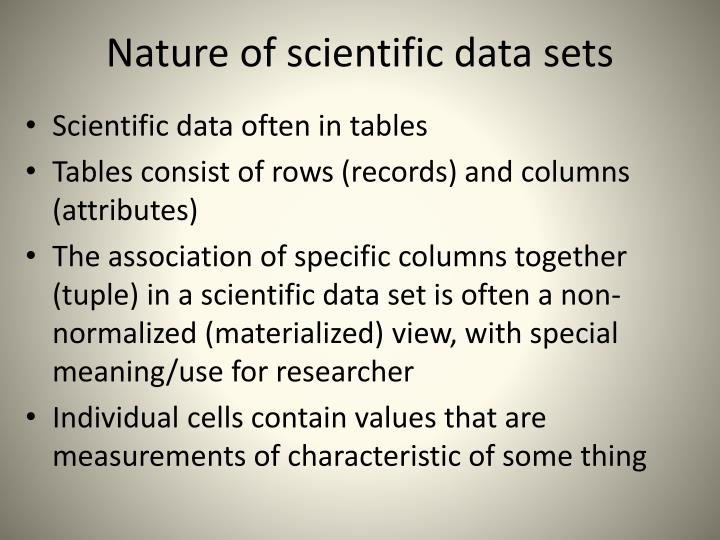 Nature of scientific data sets
