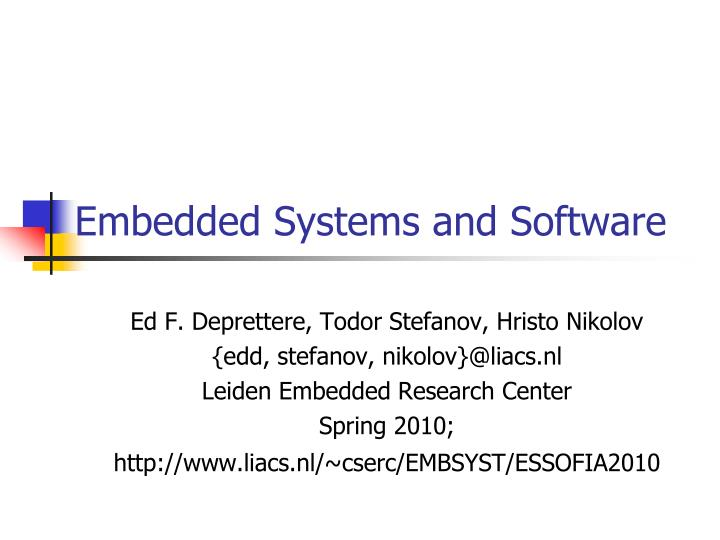 embedded systems and software n.