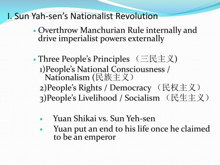 I sun yah sen s nationalist revolution