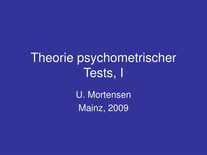 theorie psychometrischer tests i n.