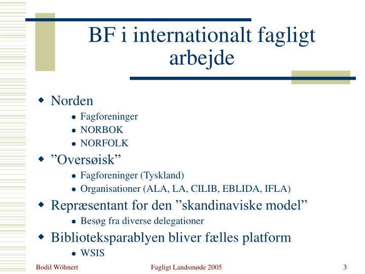 Bf i internationalt fagligt arbejde