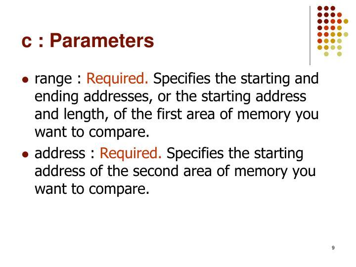 c : Parameters