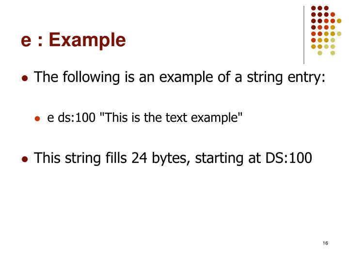 e : Example
