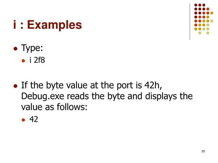 i : Examples