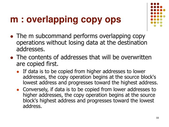 m : overlapping copy ops