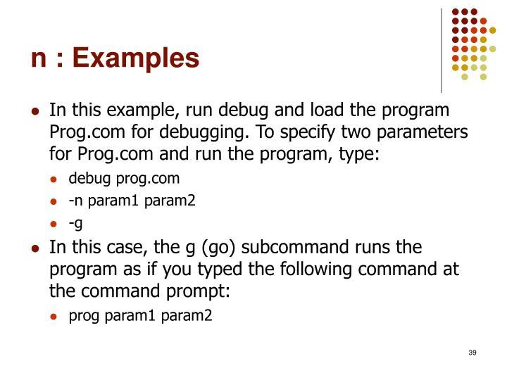 n : Examples