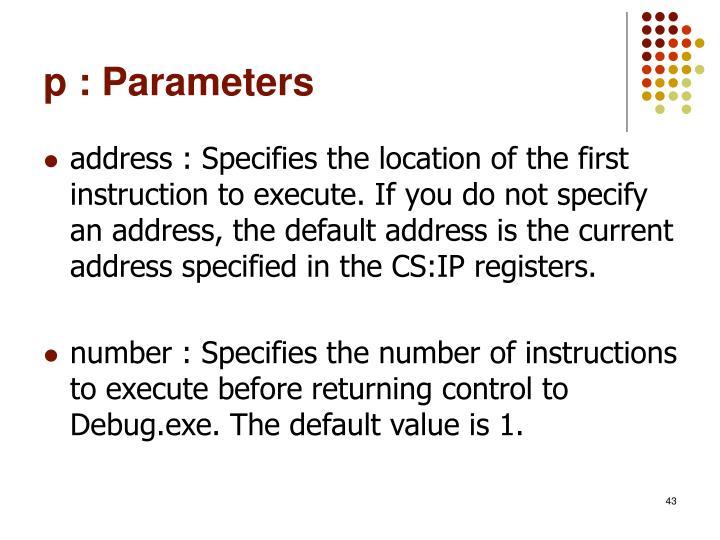 p : Parameters