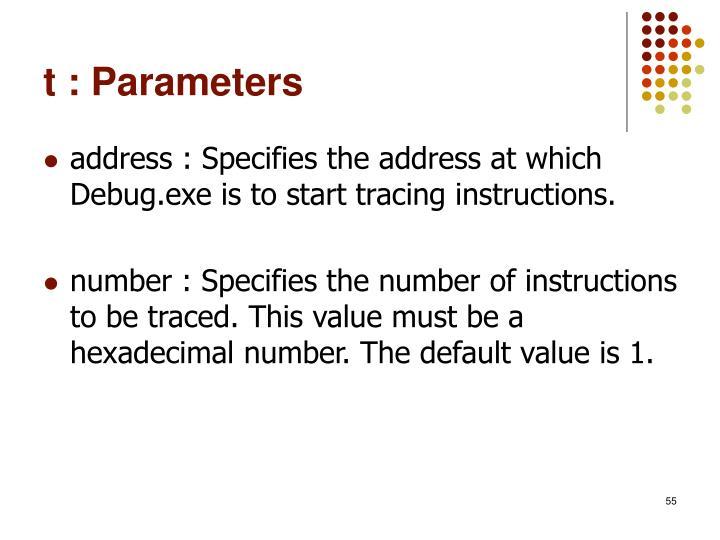 t : Parameters