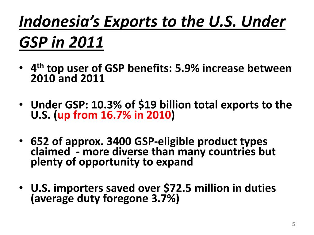 PPT - Expanding Indonesia's Exports to the U S  through the GSP