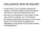 lets practice what we learned