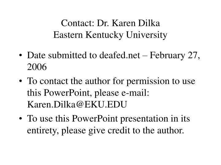 contact dr karen dilka eastern kentucky university n.