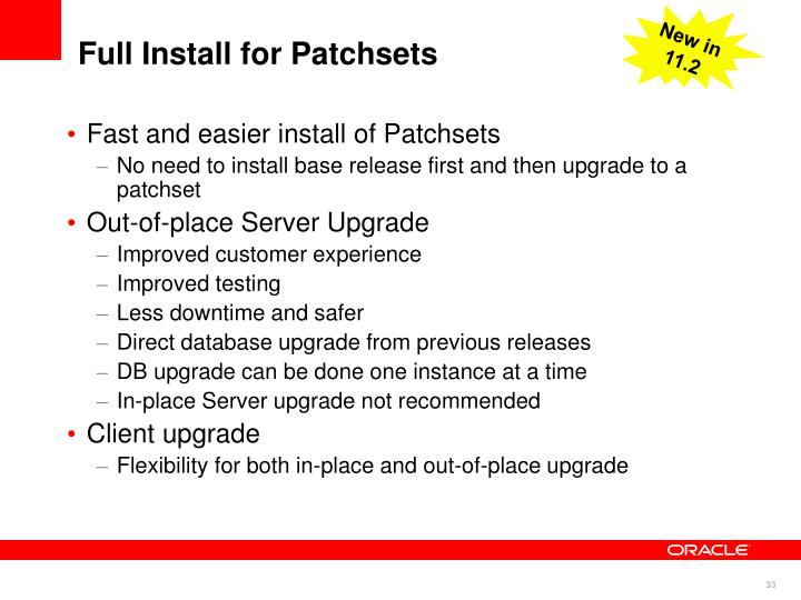 Full Install for Patchsets