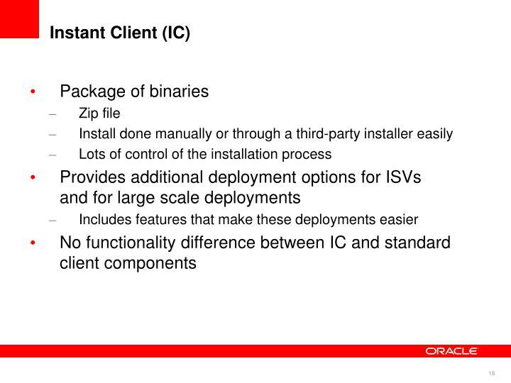 Instant Client (IC)