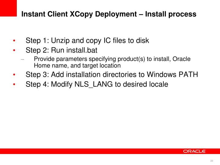 Instant Client XCopy Deployment – Install process